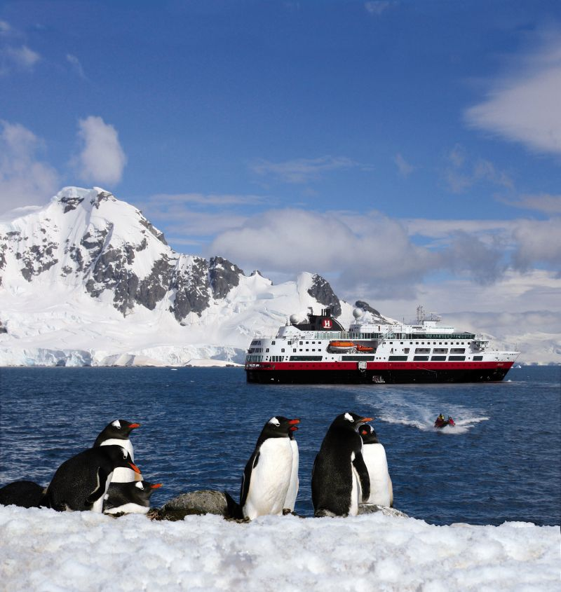 Penguins and Fram in Antarctica